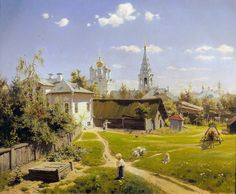 Moscow Patio (1878) is the best known oil-on-canvas painting by Vasily Polenov. In the foreground there is a small world living its own life. We see children playing on the fresh grass, a woman carrying a bucket full of water and a small blond girl. In the background there is an old church of the Saviour. By the way, this church has survived up to now