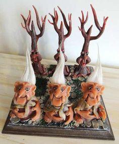 Tateti Trols Vs. Ents - Modelado En Porcelana - Pieza Unica