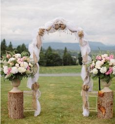Country Chic with burlap and lace arch