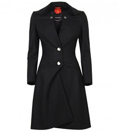 Black Wool Unique Tailored Long Coat by Vivienne Westwood