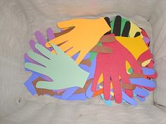 """Teaching children to serve others.  Cut out hands and play """"Secret Servant"""".  The idea is to secretly do a service for someone (example: make their bed or put away their toys, etc).  Then leave a hand cut out in the place where the service was performed.  Once you have been """"served"""" your job is to pass it on by finding someone else to serve as well."""