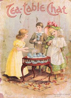 Antique Images: Vintage Victorian Graphic: Victorian Storybook Cover with Children at Tea Party