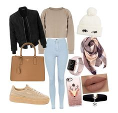 """""""winter school style❄️"""" by lmhxran on Polyvore featuring mode, Topshop, My Mum Made It, Puma, LE3NO, Prada, Kate Spade, Casetify et Everest"""