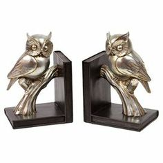 "Owl bookends.   Product: 2 Piece bookend setConstruction Material: ResinColor: Gold and brownDimensions: 9.2"" H x 6.1"" W x 4.7"" D eachCleaning and Care: Wipe with clean damp cloth"