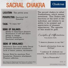 2nd Chakra: Svadhisthana ❤️☀️ The Sacral Chakra is the 2nd of seven levels of consciousness in this philosophical model for balancing your energy. (Sources: Eastern Body, Western Mind and Chakras for Beginners.)