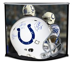 PEYTON MANNING & MARVIN HARRISON Dual Signed Colts Proline Helmet w/ Custom Designed Curve Display STEINER LE 18 - Game Day Legends