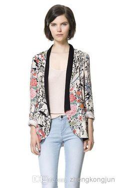 345218a9cc8 New Vintage Print Chiffon Casual Jacket Loose Print Floral Women Coats  Kimono Cape Outerwear S M L Size