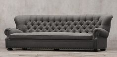 Restoration Hardware Churchill. Comfy, feather cushions, curved back.