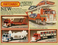 "Matchbox ""Convoy"" Peterbilt Car Transporter, Kenworth Rocket Transporter and Kenworth Double Container Truck"