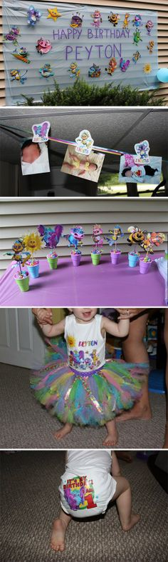 "Created by super momma Nicole Abreu for her daughter Peyton's 1st birthday!: ""She absolutely loves The Gigglebellies! So we had to give her a Gigglebellies birthday party. I also printed smaller photos of the characters and made a clothesline of her monthly photos. We laminated all the photos and made the sign. She now has the laminated photos all over her walls and the figurines in her room. I also made her tutu, headband, t-shirt and undies."" #GBbirthday"