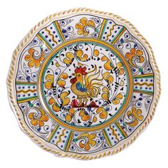 Le Cadeaux 11 in. Rooster Yellow Dinner Plate - Set of 4