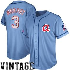Majestic Dale Murphy Atlanta Braves #3 Cooperstown Collection Traditional Player Jersey - Light Blue