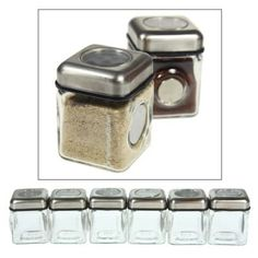 Amazon.com: 6pc Elemental Kitchen Home Magnetic Spice Jar / Shaker Set: Kitchen & Dining