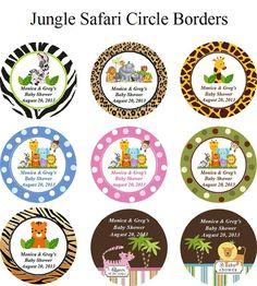 personalized JUNGLE SAFARI baby shower Favor Tags - birthday monkey