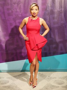 Jeannie looks stunning in a red-hot Cameo dress and sponsored Shoe Dazzle pumps. Cameo Dress, Dascha Polanco, Jeannie Mai, Celebs, Celebrities, Shoe Dazzle, Looking Stunning, Fashion Forward, Nice Dresses