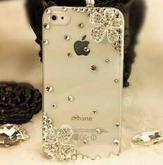 Metal flower with five petals crystal clear cover cell phone case  for apple iphone 4s case. $8.00, via Etsy.