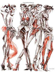 fashion_ill: Anna Kiper - Fashion Illustration: Inspiration and Technique Illustration Mode, Fashion Illustration Sketches, Fashion Sketchbook, Fashion Sketches, Fashion Poses, Fashion Art, Fashion Design, Croquis Fashion, Fashion Portfolio