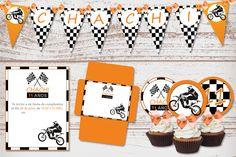 Kit Imprimible Cumpleaños Nene Motocross Motos