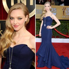 Our vote for Best Dressed and Best Jewelry from last night's SAG Awards goes to the one and only Amanda Seyfried! She rocked a beautiful navy mermaid Zac Posen gown and we couldn't take our eyes off her vintage art deco inspired long necklace by Lorraine Schwartz.
