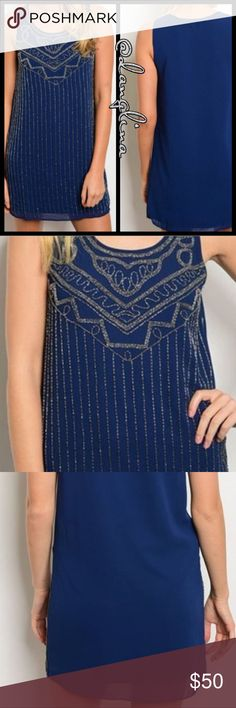 Cute beaded tunic dress Side zip closure  Rounded neck line  Sleeveless  Beautiful beaded design  Self 100% polyester, (chiffon feel layover) Lining 100% polyester Very well made Beads are silver tone S(4-6)M(8-10)L(12-14) ✨model is wearing actual dress size small✨ @danglina Dresses Mini