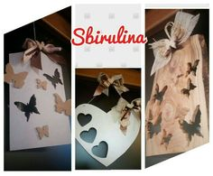 Traforo farfalle cuori legno wood hart butterfly handmade by sbirulina