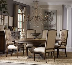 Furniture Rhapsody Round Pedestal Dining Table And Upholstered Arm Side Chair Group Baer S 7 Or More Piece