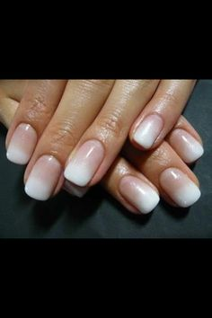White and nude ombre Nails. O Spa Kelowna, BC. En Vogue or Lac Sensation Manicure.