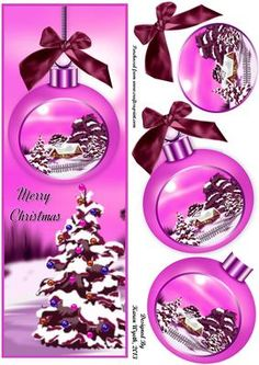 A lovely Christmas bauble quick card with a Merry Christmas sentiment and extra bauble decoupage. xk
