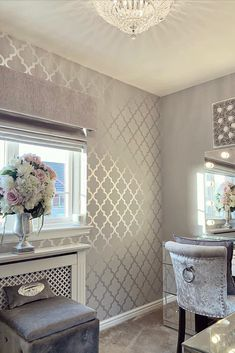 Dressing Room Decor, Dressing Room Design, Trellis Wallpaper, Of Wallpaper, Silver Wallpaper Decor, Grey Wallpaper Dining Room, Wall Paper Dining Room, Decor Home Living Room, Living Room Designs