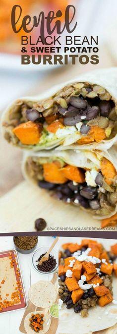 Lentil, Black Bean and Sweet Potato Burrito Recipe - Fantastic Vegetarian Burrito Option via @spaceshipslb