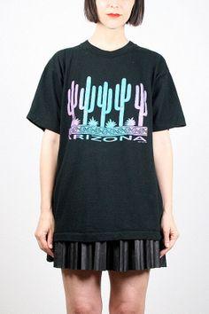 Vintage Black T shirt 80s Tshirt 1980s Black by ShopTwitchVintage #vintage #etsy #80s #1980s #tshirt #shirt #arizona #southwestern #teeshirt #cactus