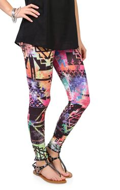 Deb Shops #rainbow multicolor #tribal #print #leggings