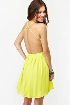 Crossed Chiffon Dress - Yellow in Clothes Dresses at Nasty Gal