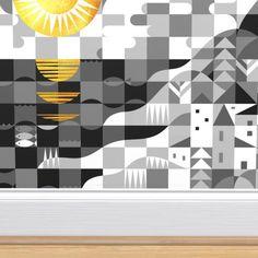 Shop the world's largest marketplace of independent surface designers - Spoonflower Gold Wallpaper, Custom Wallpaper, Wallpaper Roll, Church Interior Design, Minimalist Kids, Perfect Wallpaper, Design 24, Textured Walls, Kids Rooms