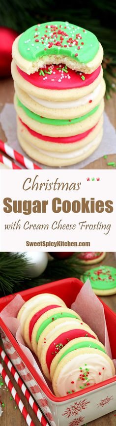 Christmas Sugar Cookies with Cream Cheese Frosting are perfect for the upcoming holiday-Christmas,for those who like sugar cookies on their Christmas plates