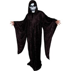 Our Adult Grim Reaper costume features a crushed panne full length hooded robe with deep flared sleeves. Scary Kids Halloween Costumes, Adult Costumes, Grey Sweatshirt, Sweater Shirt, Grim Reaper Costume, T Shirt Diy, T Shirts With Sayings, Vintage Tees, Sweater Fashion