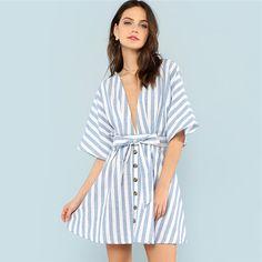 44f0211010 Deep V Neck Button Front Striped Summer Blue Striped Half Sleeve Women  Batwing Sleeve Belt Halter Dress