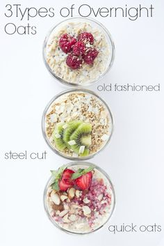 Three types of oats overnight no cooking involved This is the BEST way to eat a healthy breakfast littlebroken Healthy Breakfast Recipes, Brunch Recipes, Healthy Snacks, Healthy Eating, Healthy Recipes, Healthy Breakfasts, Healthy Dishes, Healthy Cooking, Breakfast Desayunos