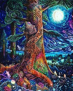 Spiritual Art Mother Earth You Are Awesome Psychedelic art Psychedelic Art, Mandala Nature, Art Visionnaire, Psy Art, Hippie Art, Visionary Art, Tree Art, Mother Earth, Art Inspo