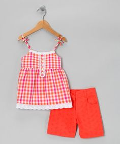 Loving this Pink Plaid Tunic & Shorts - Toddler on #zulily! #zulilyfinds