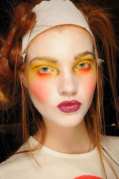 makeup at paris fashion week, backstage, vivienne westwood spring 2012, photo via stylebistro.com #makeup #redhead #viviennewestwood