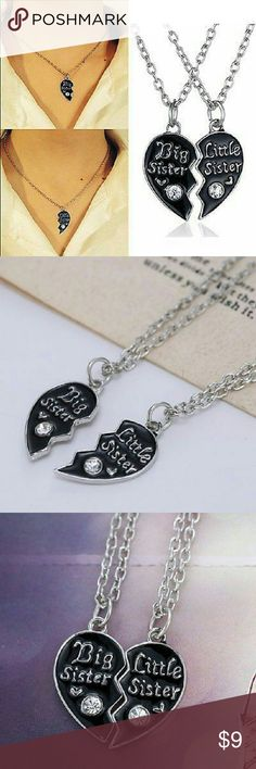 """Big Sis Lil Sis linked heart necklaces (2) Beautiful """"Big Sis"""" and """"Lil Sis"""" linked heart necklaces with clear CZ!!!! One half for the big sister other half for the little sister!!! Two necklaces!! Jewelry Necklaces"""
