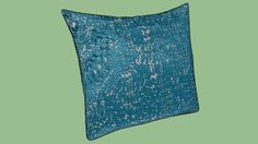 Large preview of 3D Model of West Elm Jacquard Velvet Allover Textured Pillow Cover - Blue Teal