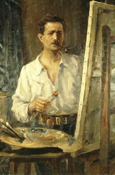 Umvertos Argyros, Self portrait, 1917 Greek Paintings, Painter Artist, Greek Art, 10 Picture, Color Of Life, Conceptual Art, Figure Painting, Art And Architecture, Artist At Work