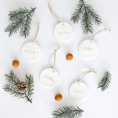 clay ornaments DIY lettered air clay ornament and 25 easy DIY Scandinavian Christmas Ornaments Scandinavian Christmas Ornaments, Clay Christmas Decorations, Noel Christmas, Diy Christmas Ornaments, Christmas Gifts, Canadian Christmas, Homemade Christmas Tree Decorations, Christmas Wreaths, White Ornaments