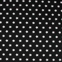 Černá bavlněná látka s motivem bílých hvězdiček. Látka je vhodná na patchwork, quilting, ložní prádlo, ale i na šaty, kalhoty.