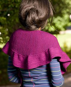 Knitting pattern for Flamboyant Shawl. The Flamboyant Shawl is a small crescent in plush garter stitch with a rippled edge.
