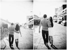 Candid walk in Pike Market Seattle engagement photos