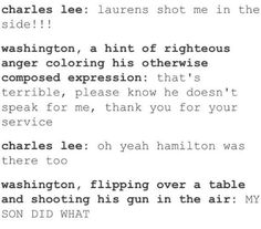 Becuz washington told ham not to, and Ham said screw that shit. LAURENS WILL YOU SHOOT LEE FOR ME?!