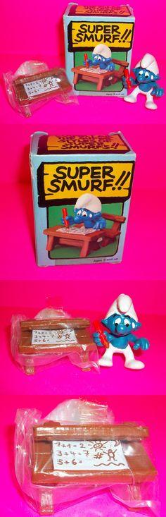 Smurfs 19243: Vtg Smurf Peyo Schleich Rare Student Smurf Wood Desk Book Action Figure In Box! -> BUY IT NOW ONLY: $40 on eBay!